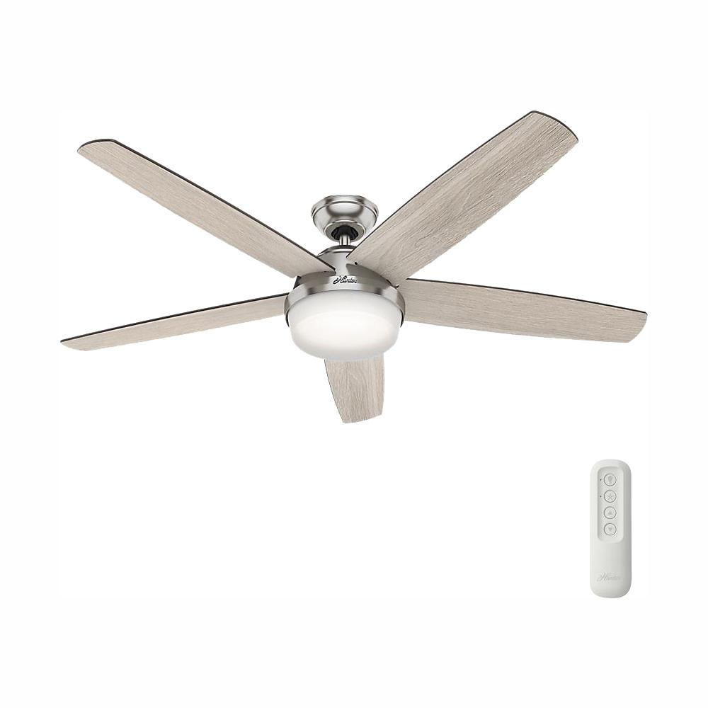 Hunter Hunter Salido 60 in. LED Indoor Brushed Nickel Ceiling Fan with Light and Remote