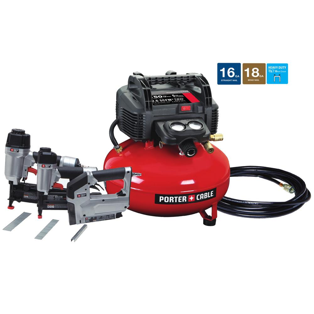 Porter Cable 6 Gal 150 Psi Portable Electric Air Compressor 16 Gauge Nailer 18 And 3 8 In Stapler Combo Kit Tool