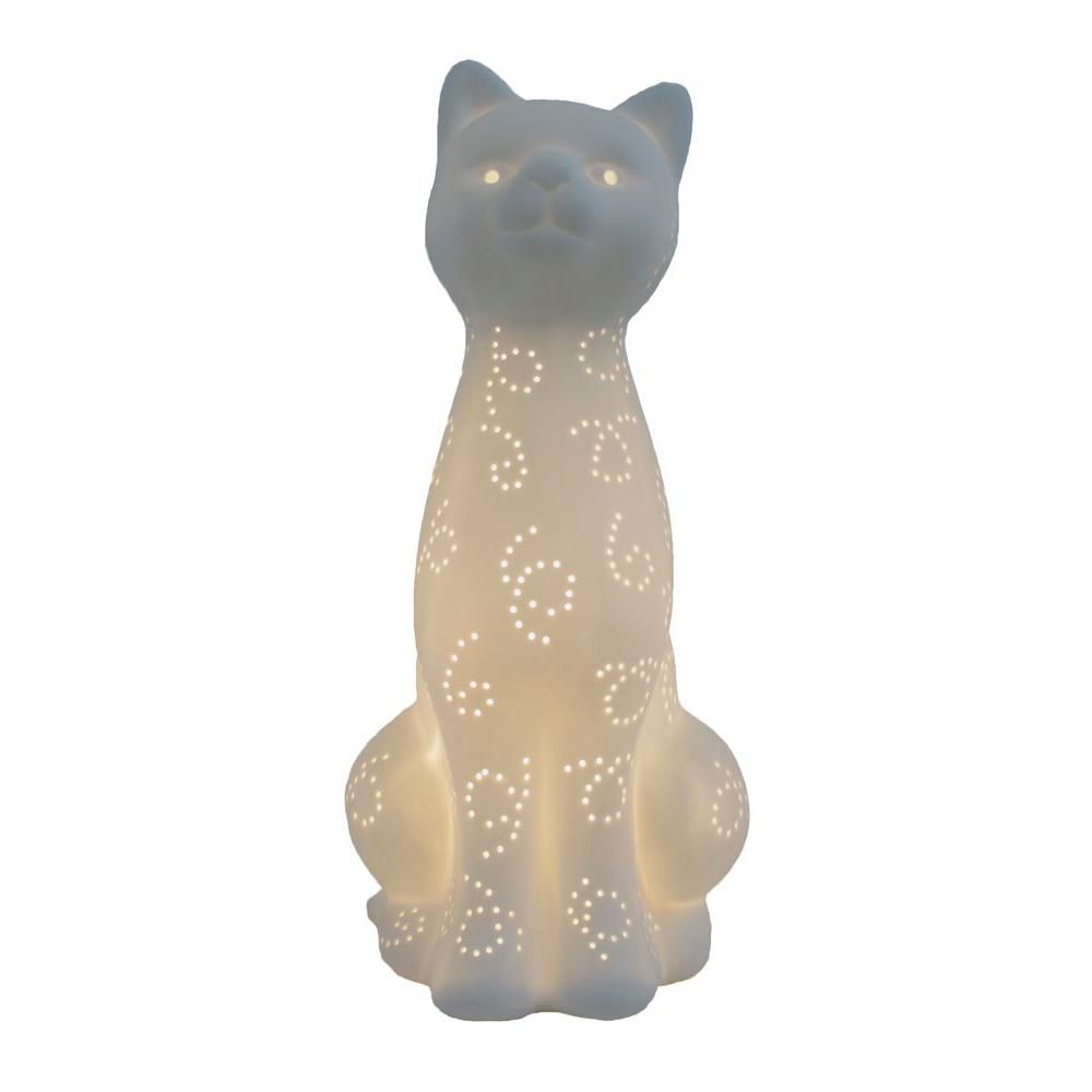Simple Designs Animal Love 11 in. White Porcelain Kitty C...