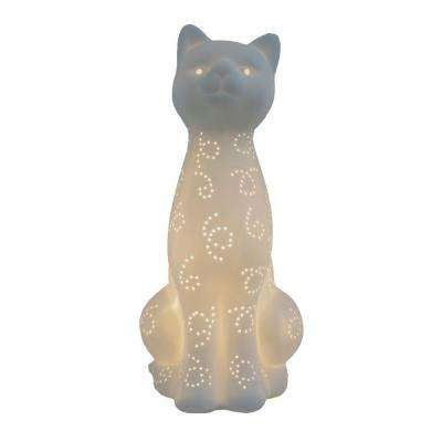 Animal Love 11 in. White Porcelain Kitty Cat Shaped Table Lamp