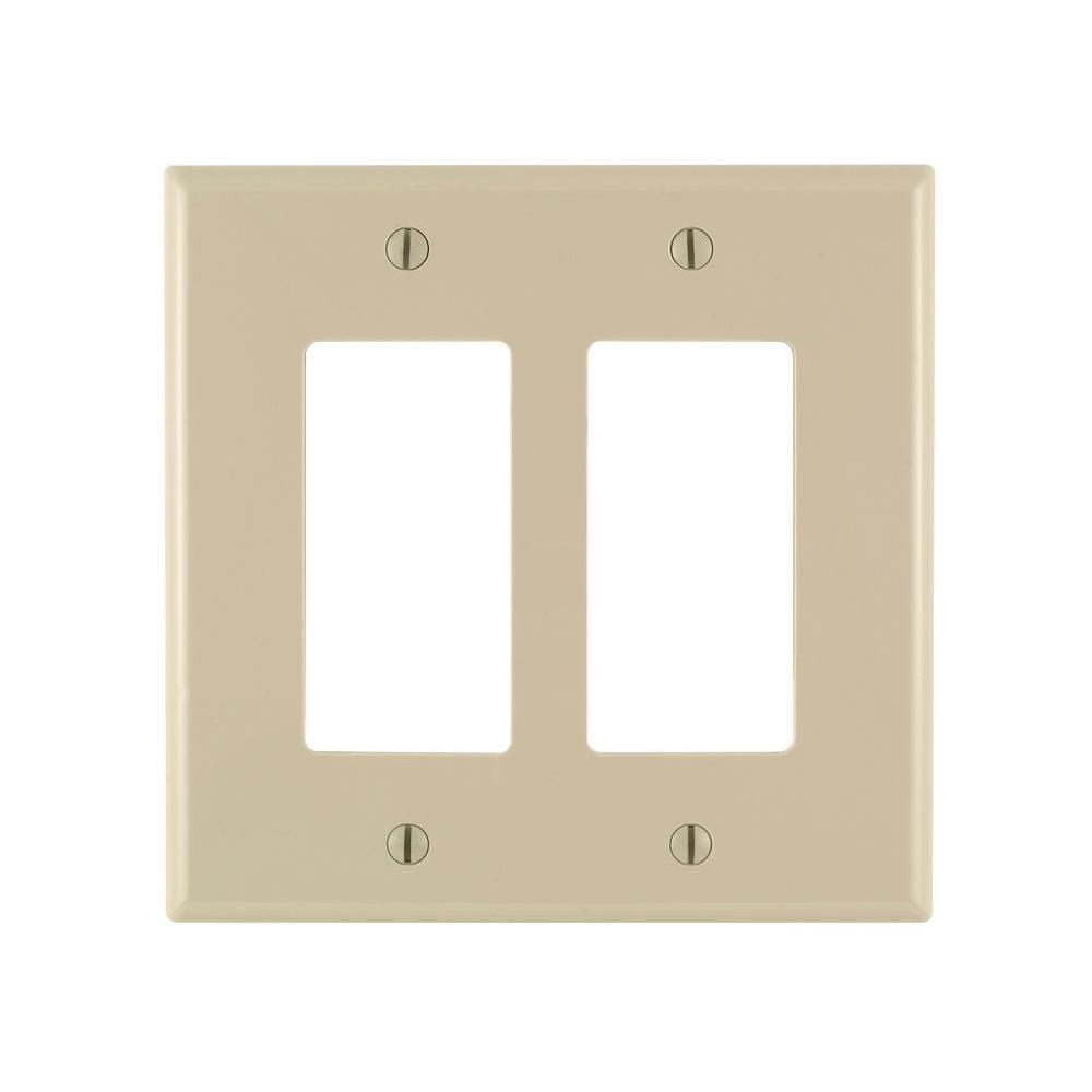 Leviton Decora 2 Gang Midway Nylon Wall Plate Ivory