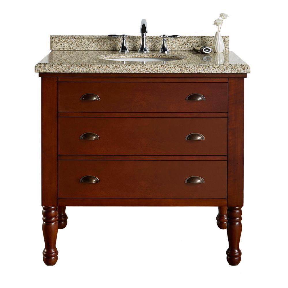 36 in. W x 23 in. D Vanity in Dark Brown Cherry with Granite Vanity Top in Beige with White Basin