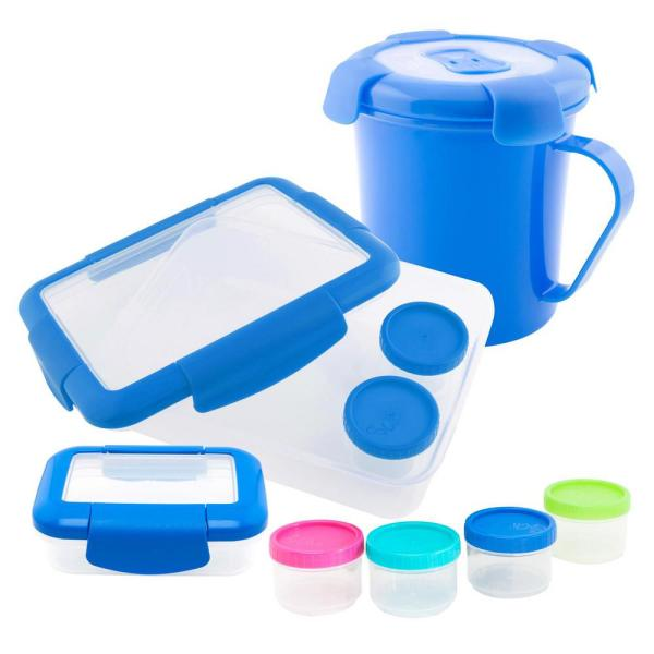 Keeplit Keep& Go 4-Piece Food Storage Container Assorted Pack in Blue