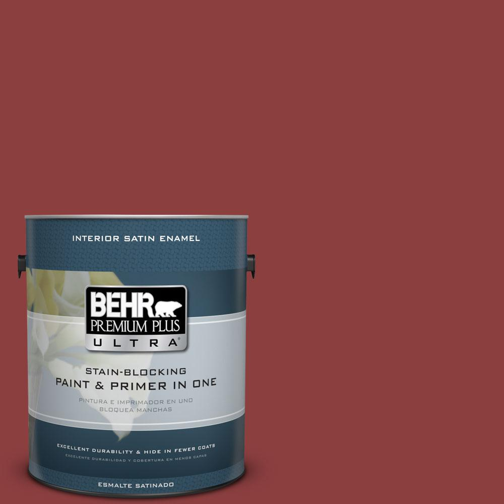 1-gal. #BXC-27 Carriage Red Satin Enamel Interior Paint