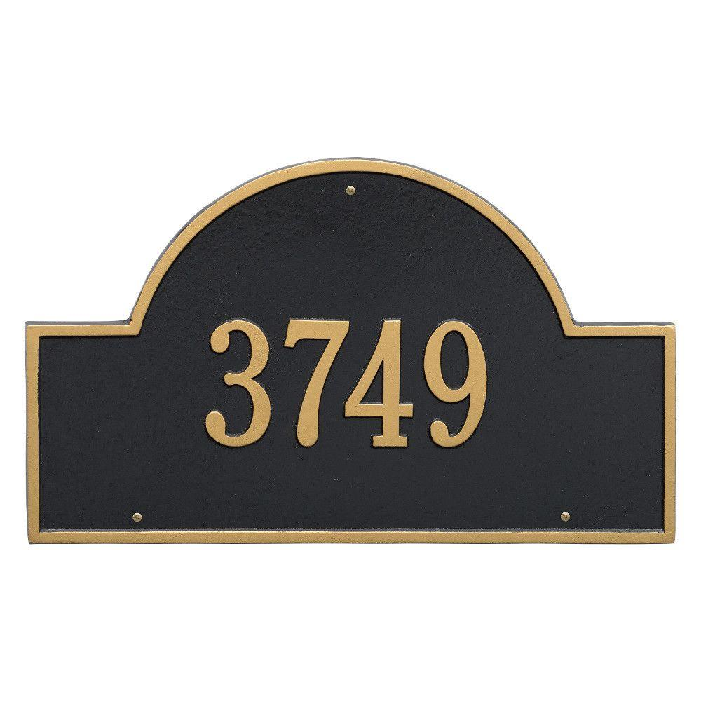 Whitehall Products Arch Marker Estate Black/Gold Wall 1-Line Address Plaque