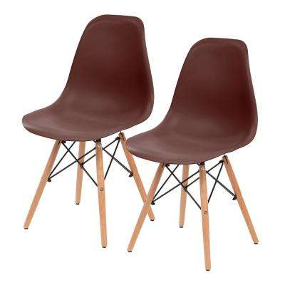 Brown Plastic Shell Chair (Set of 2)