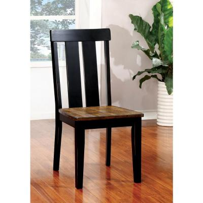 Alana Antique Oak and Black Transitional Style Side Chair (2-Pack)