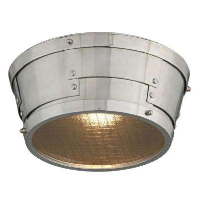 Idlewild 18-Watt Aviation Gray and Vintage Aluminum Integrated LED Flush Mount
