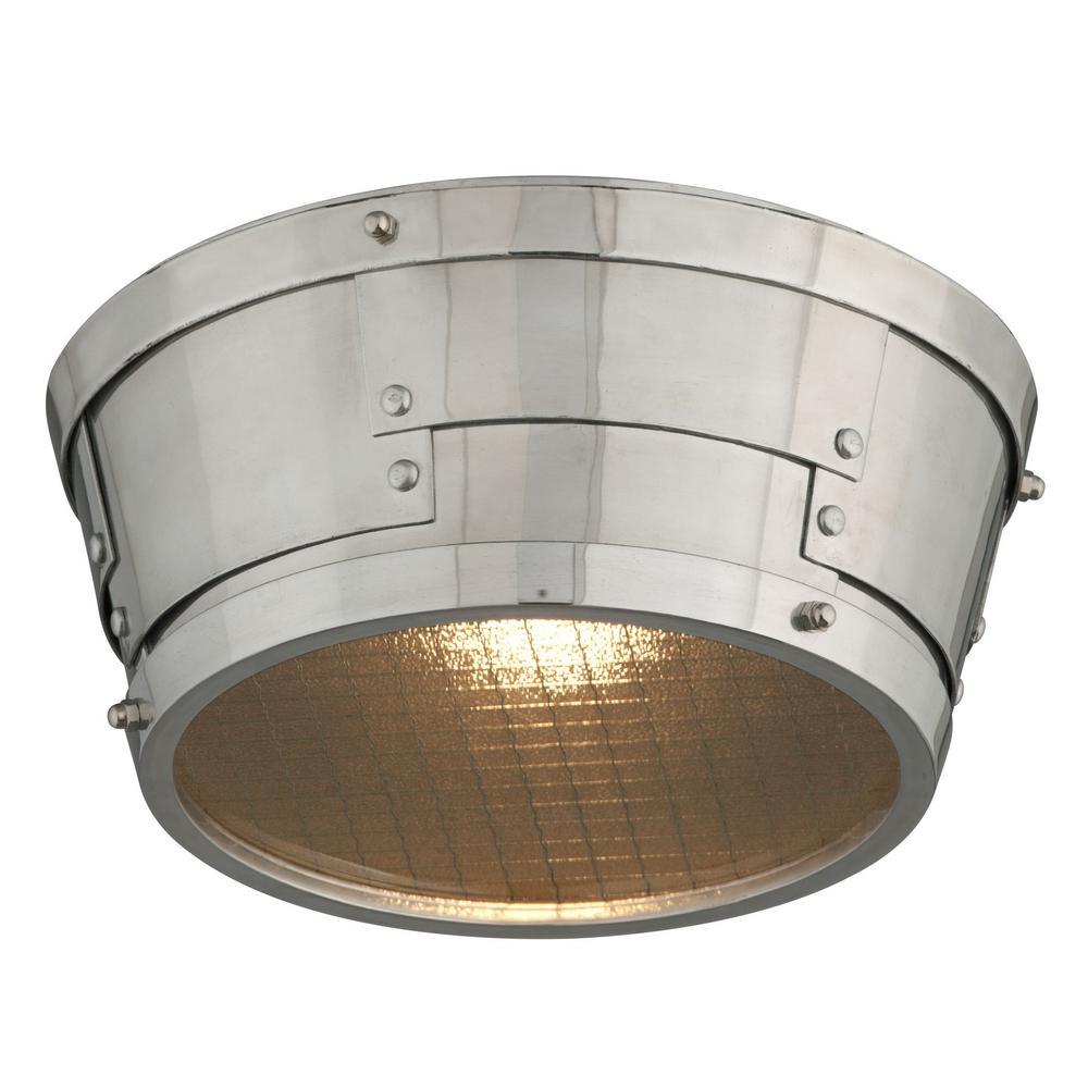 Idlewild 18-Watt Aviation Gray and Vintage Aluminum Integrated LED Flushmount
