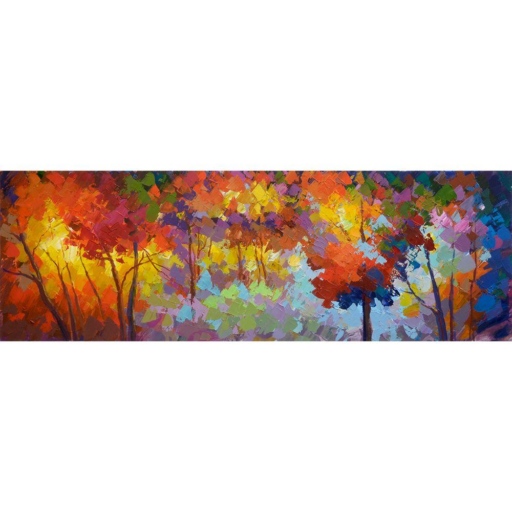 """Yosemite Home Decor 19 in. x 59 in. """"Autumn Unrestrained"""" Hand Painted Canvas Wall Art"""