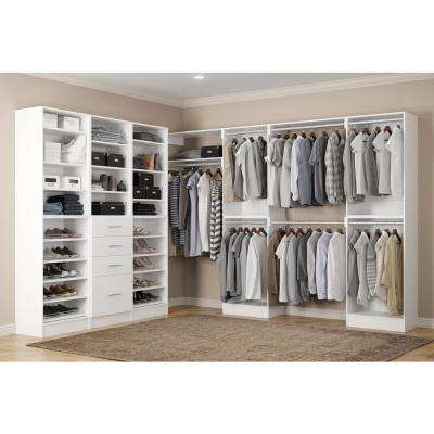 Calabria Walk In 15 in. D x 243 in. W x 84 in. H Glacier White Wood Closet System