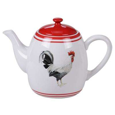 Homestead Rooster 4-Cup Multi-Colored Teapot