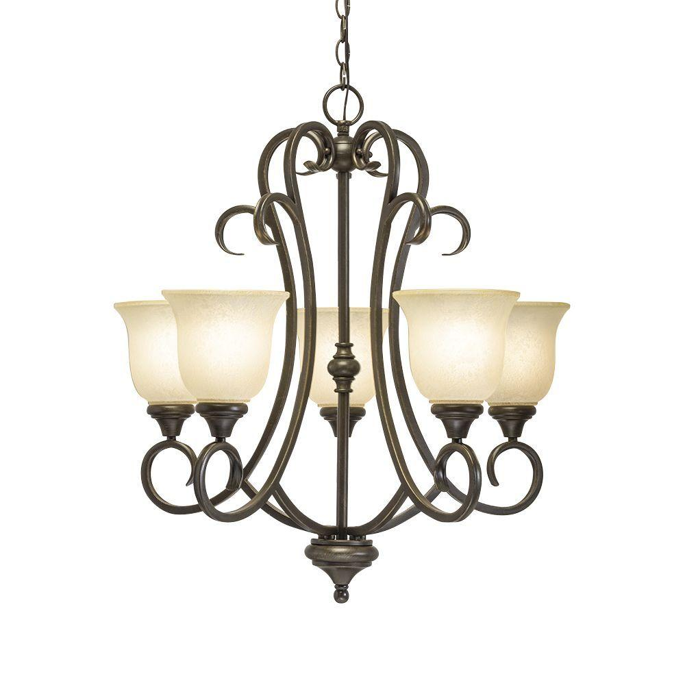 Home Depot Dining Room Chandeliers: Hampton Bay Lavers Hill 5-Light Iron Stone Chandelier With