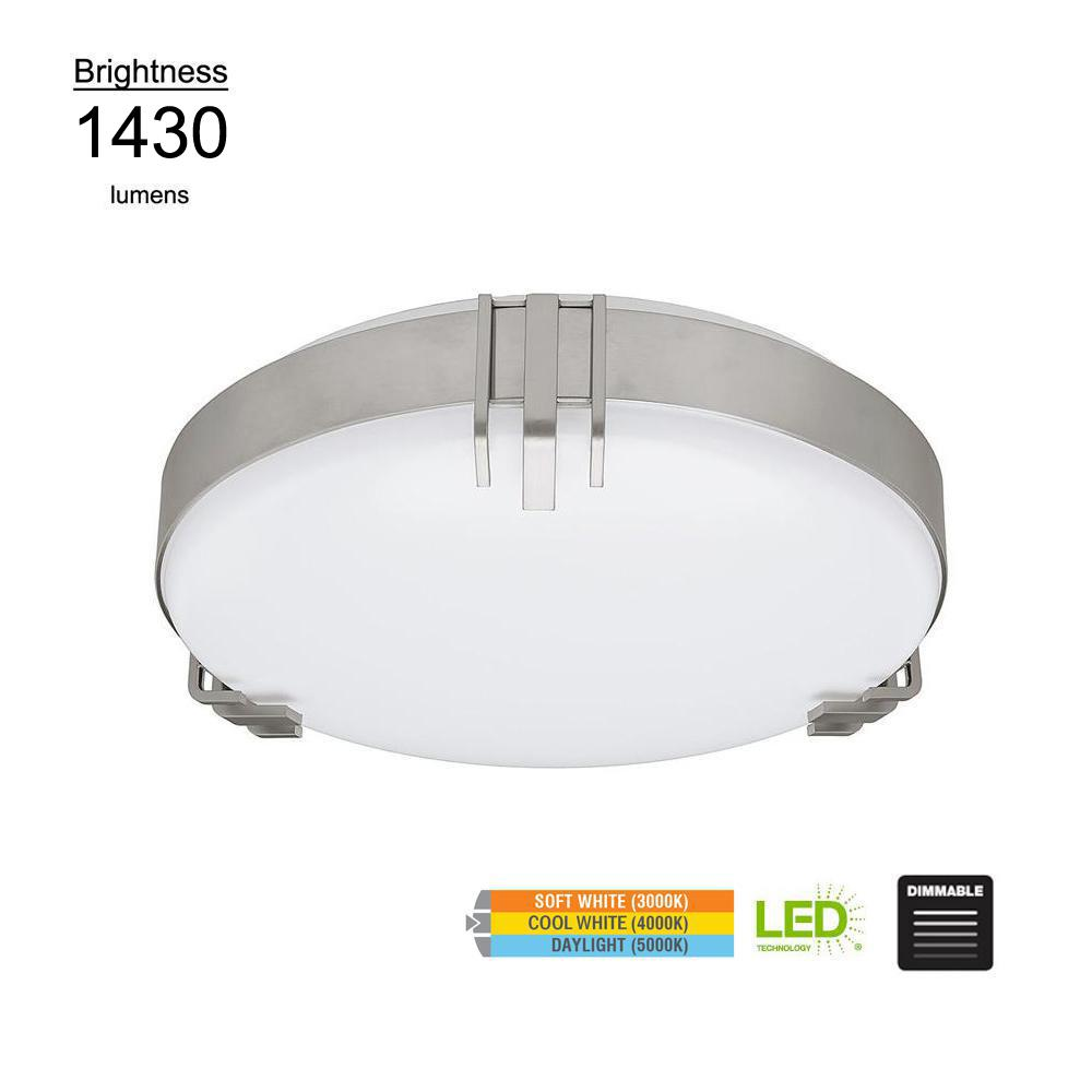 Hampton Bay Mission Industrial 15 in. Round Brushed Nickel Selectable LED Flush Mount Ceiling Light 1430 Lumens Dimmable