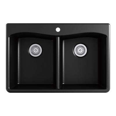 Kennon Drop-In/Undermount Neoroc Granite Composite 33 in. 1-Hole 50/50 Double Bowl Kitchen Sink with Grid in Matte Black