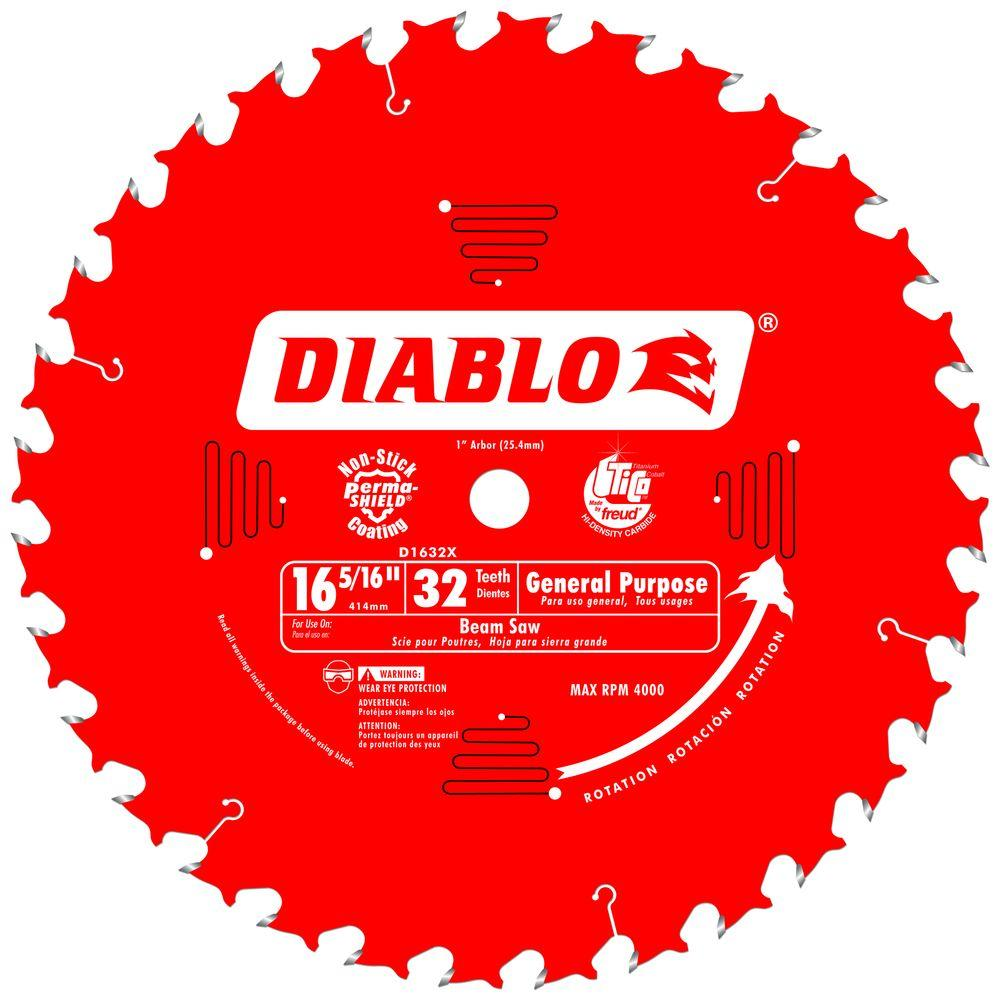 Diablo 16-5/16 in. x 32-Tooth x 1 in. Arbor General Purpose Saw Blade for Beam Saws