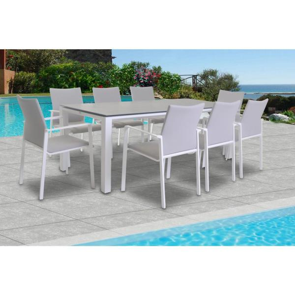 Sense White 9-Piece Aluminum Outdoor Dining Set with Sling Set in Mouse Grey