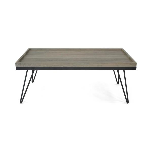 Seminole Industrial Modern Rectangular Antique Gray Faux Wood Coffee Table with Matte Black Hairpin Legs