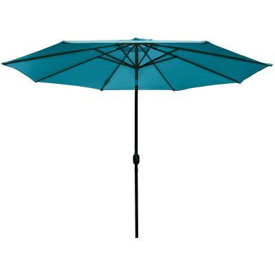 11 ft. Market Patio Umbrella Table with Push Button Tilt and Crank in Turquoise