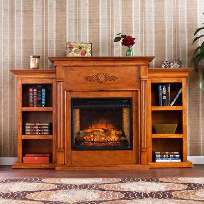 Greenfield 70.25 in. W Infrared Electric Fireplace with Bookcases in Glazed Pine