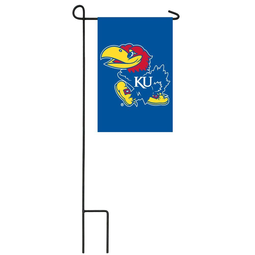 Team Sports America NCAA 12-1/2 in. x 18 in. Kansas 2-Sided Garden Flag with 3 ft. Metal Flag Stand-DISCONTINUED