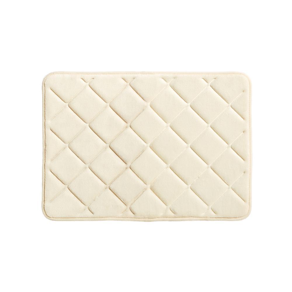 Embossed Memory Foam Bath Rug In Vanilla R3004an431724 The Home Depot