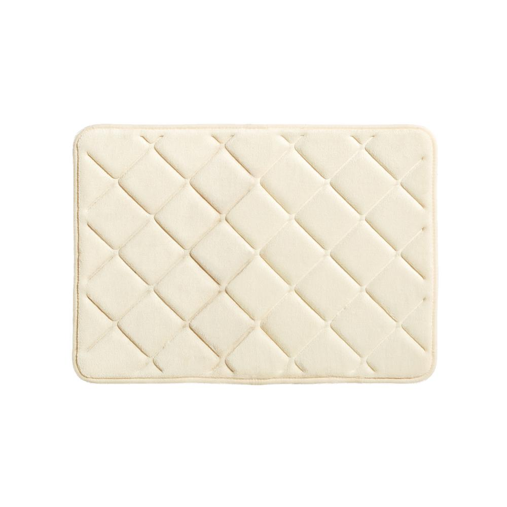 Embossed Memory Foam Bath Rug In Vanilla