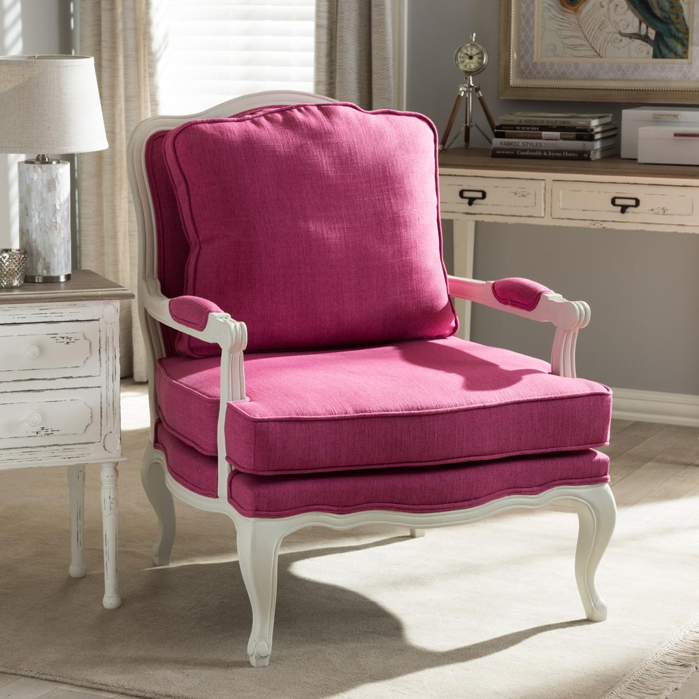 Baxton Studio Antoinette Pink Fabric Upholstered Accent