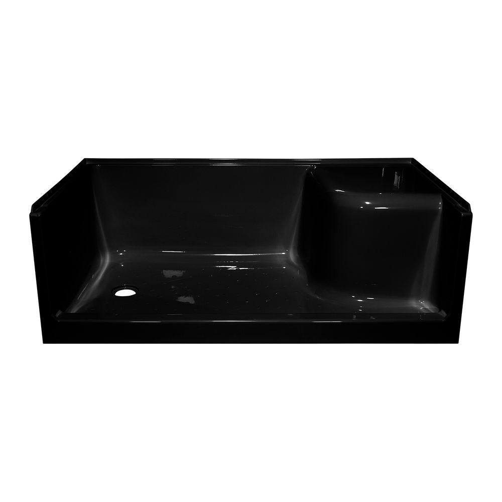 Lyons Industries Elite 60 in. x 32 in. Single Threshold Seated Shower Base with Left Drain in Black