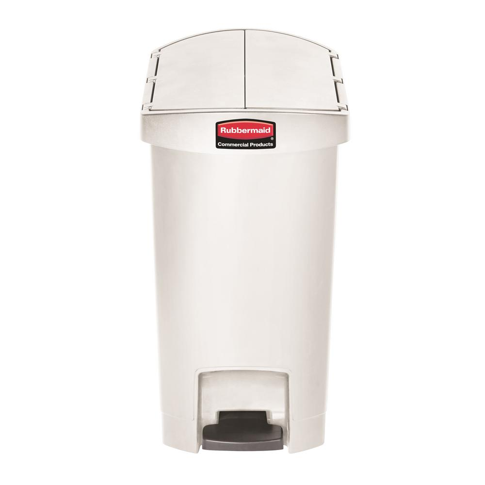 Genial Rubbermaid Commercial Products Slim Jim Step On 8 Gal. White Plastic End  Step Trash