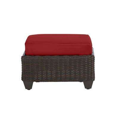Mill Valley Brown Wicker Outdoor Patio Ottoman with CushionGuard Chili Red Cushion