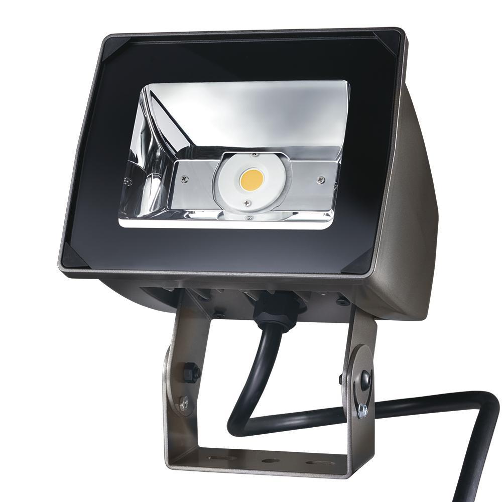 51-Watt Bronze Outdoor Integrated LED Small-Head Flood Light with Trunnion Mount