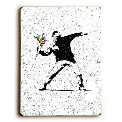 "9 in. x 12 in. ""Rage Flowers Textured"" by Banksy Solid Wood Wall Art"