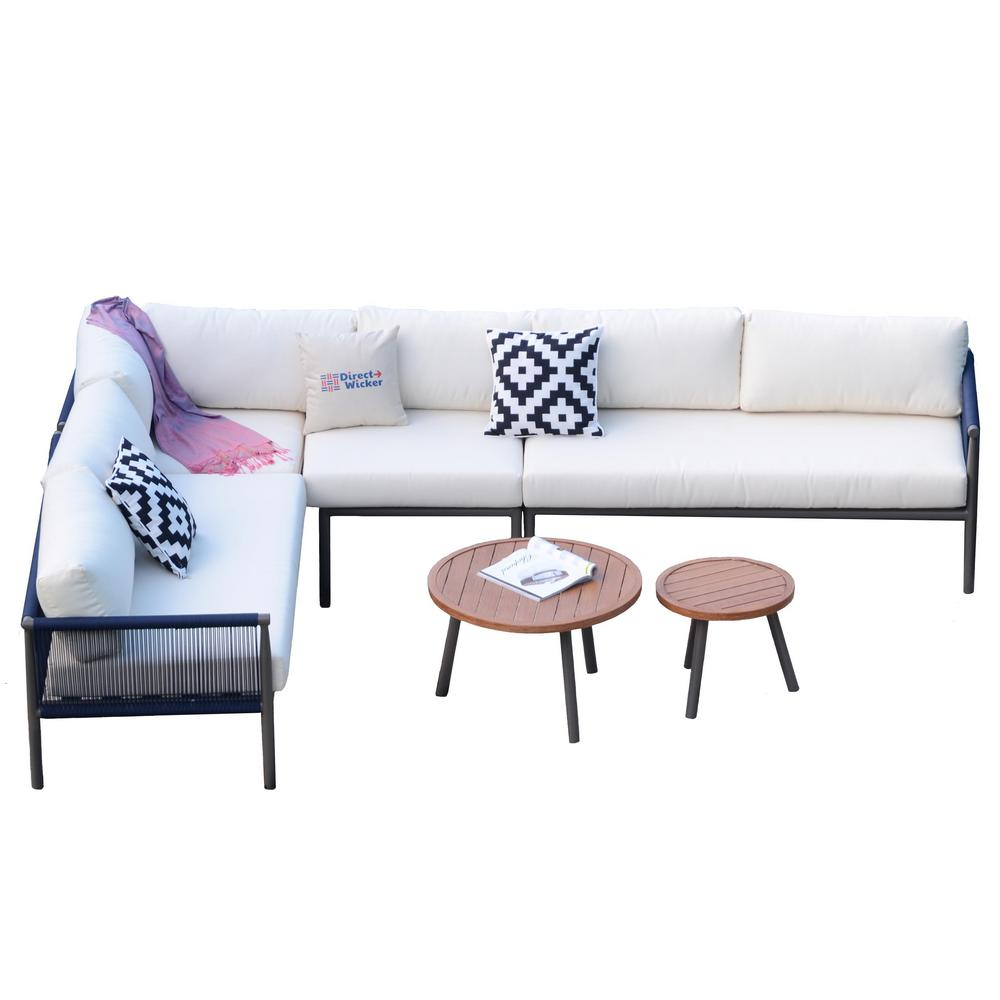 Groovy Direct Wicker Cathelina 6 Piece Aluminum Rope Weave Outdoor Sofa Set With White Cushions And Coffee Tables Ibusinesslaw Wood Chair Design Ideas Ibusinesslaworg