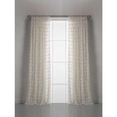 Chichi 54 in. W x 108 in. L Ivory Cascading Tulle Petal Window Curtain