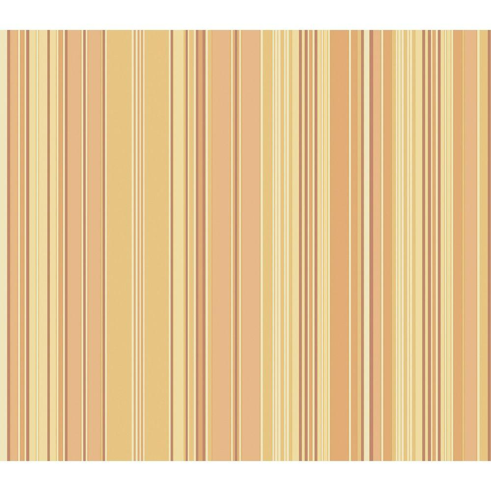 The Wallpaper Company 56 sq. ft. Orange and Yellow Stripe Wallpaper-DISCONTINUED