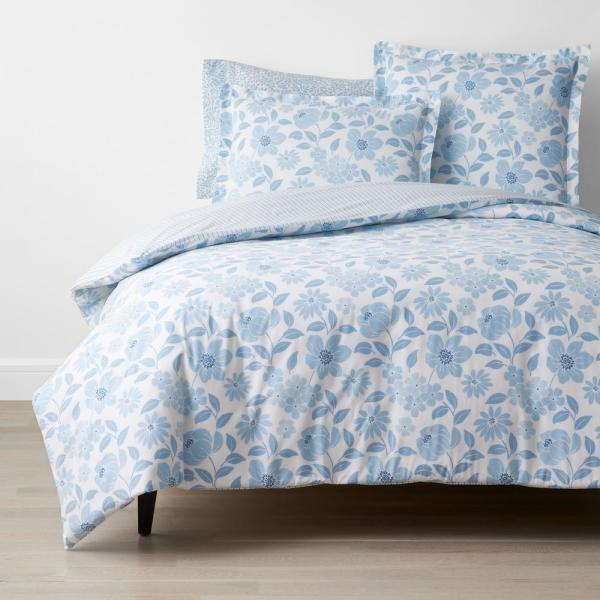 The Company Store Company Cotton Garden Spray Blue Botanical 200 Thread Count Percale Twin Flat Sheet 50736a T Blue The Home Depot