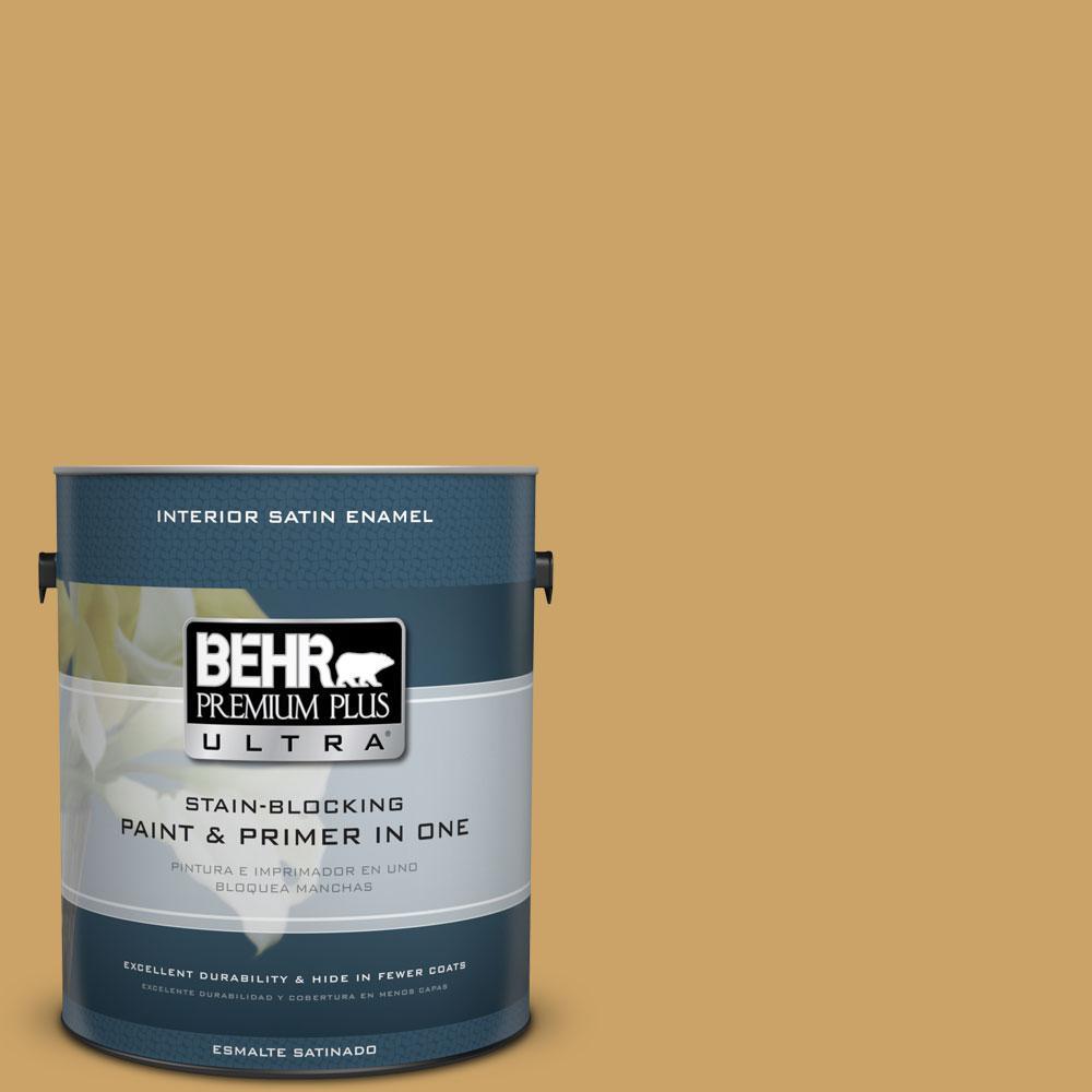 BEHR Premium Plus Ultra 1-Gal. #PPU6-17 Classic Gold Satin Enamel Interior Paint