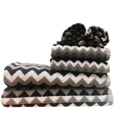 Zig Zag 6-Piece 100% Cotton Bath Towel Set in Silver