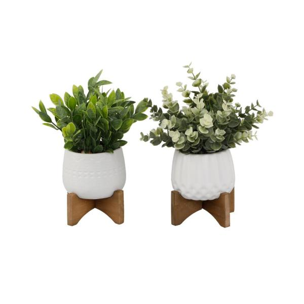 8 in. Faux Eucalyptus &Tea Leaf in 3.5 in. Matte White Pot on Woodstand,Set of 2