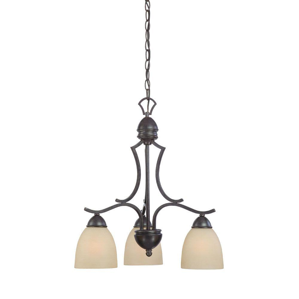 Thomas Lighting Triton 3-Light Sable Bronze Chandelier with Tea Stained Glass Shade