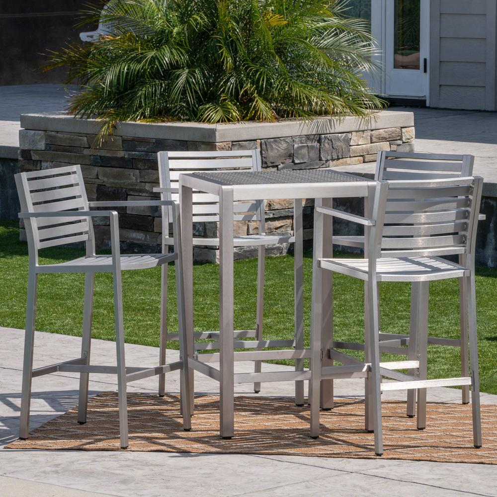 Surprising Noble House Cape Coral Silver 5 Piece Aluminum Outdoor Bar Height Bistro Set With Gray Wicker Top Table Theyellowbook Wood Chair Design Ideas Theyellowbookinfo