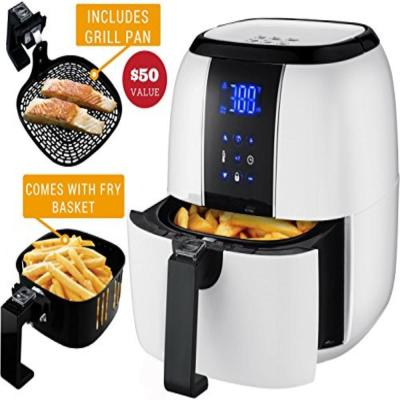 3.2 Qt. White Air Fryer Grill Pan and Non-Stick Frying Basket Auto Shut-Off 6 Cooking Presets Touch Sensor