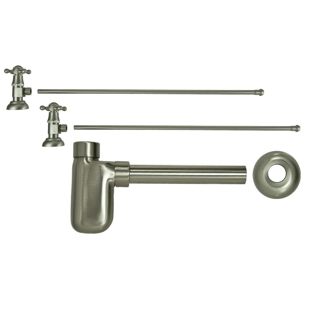 Barclay Products 3/8 in. x 20 in. Brass Lavatory Supply Lines with Cross Handle Shutoff Valves and Decorative Trap in Brushed Nickel Barclay provides all your essential bathroom needs. Replace unsightly plumbing under your exposed sink with this decorative lavatory trap and supplies. Enjoy the convenience of accessible water shut-off. Color: Brushed Nickel.