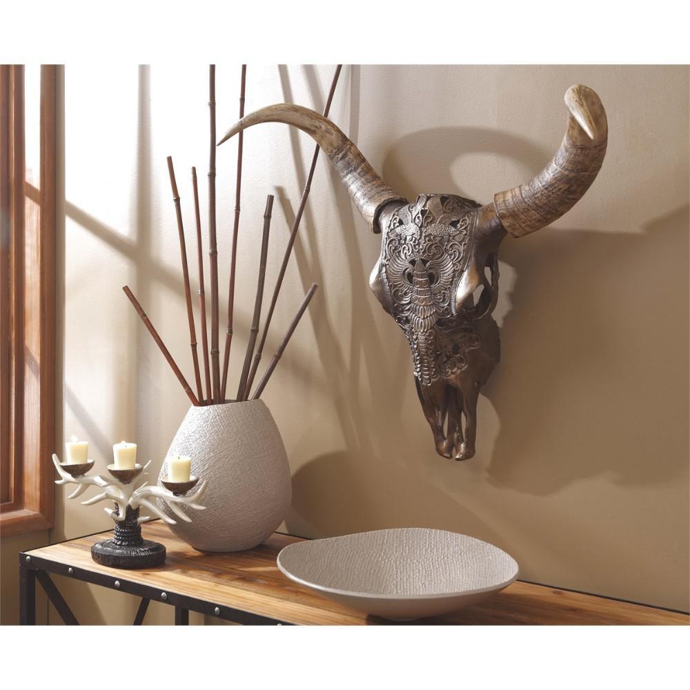 Brown Aesthetic Polyresin Bull Skull Wall Decor by