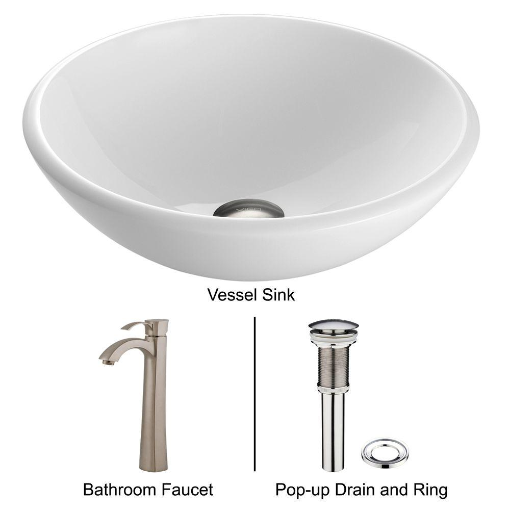 VIGO Stone Glass Vessel Sink In White Phoenix And Faucet In Brushed Nickel