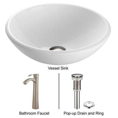 Stone Glass Vessel Sink in White Phoenix and Faucet in Brushed Nickel