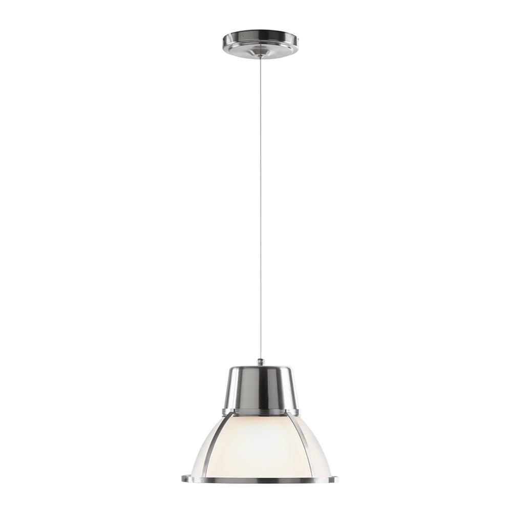 Bente Collection 2 25 Watt Nickel Integrated Led Pendant With Frosted Gl Shade