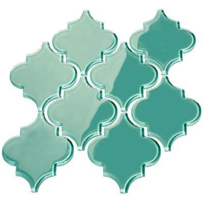 Teal Arabesque 4 in. x 5 in. x 8mm Glass Backsplash and Wall Tile (7 sq. ft. / case)