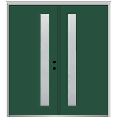 72 in. x 80 in. Viola Left-Hand Inswing 1-Lite Frosted Painted Fiberglass Smooth Prehung Front Door on 4-9/16 in. Frame